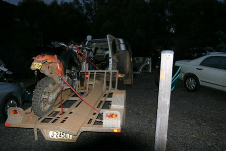 KTM with wrecked instruments, lights and clutch