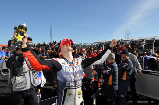 Lorenzo in Parc ferme. World Champion 2012