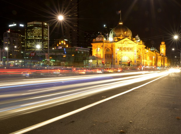 Melbourne Flinders Street Station at night