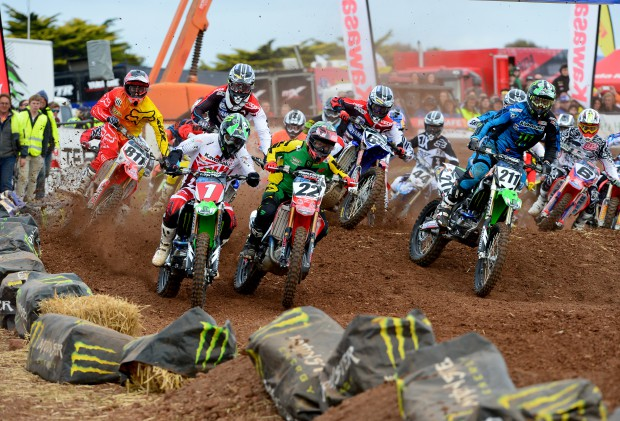 Pro Open Supercross Final Start. 2012. Jay Marmont #1. Chad Reed #22.