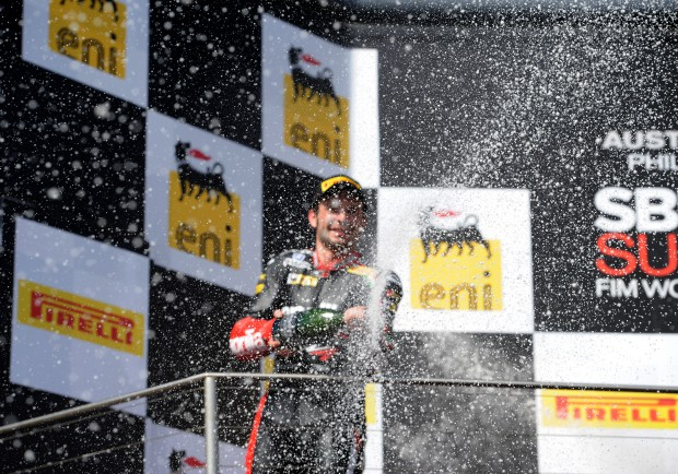 Race 2 Superbikes Podium - Sylvain Guintoli 008 - Champagne Spraying