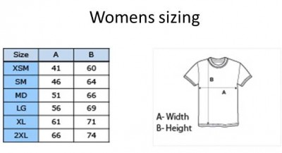 Womens tee sizing